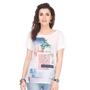 White Colored Chiffon Printed Top