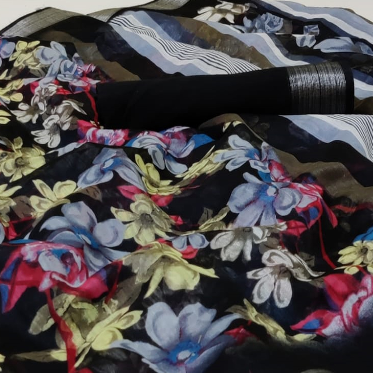 Excellent Black Colored Casual Wear Printed Heavy Cotton Saree