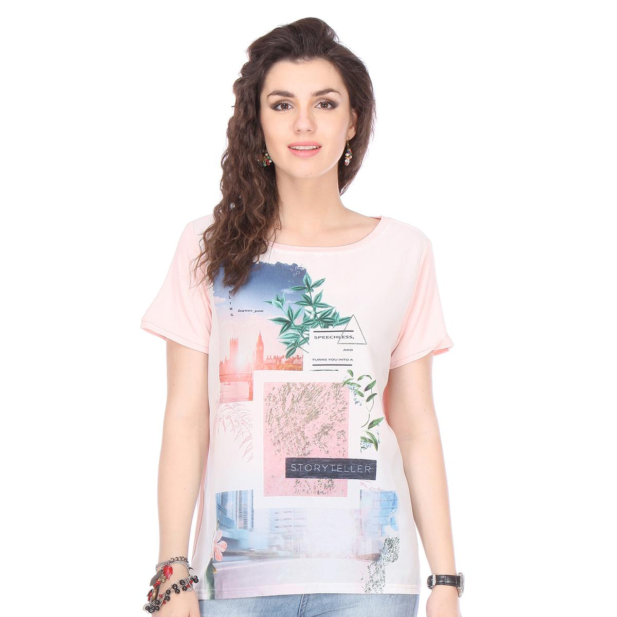 Light Pink Colored Chiffon Printed Top