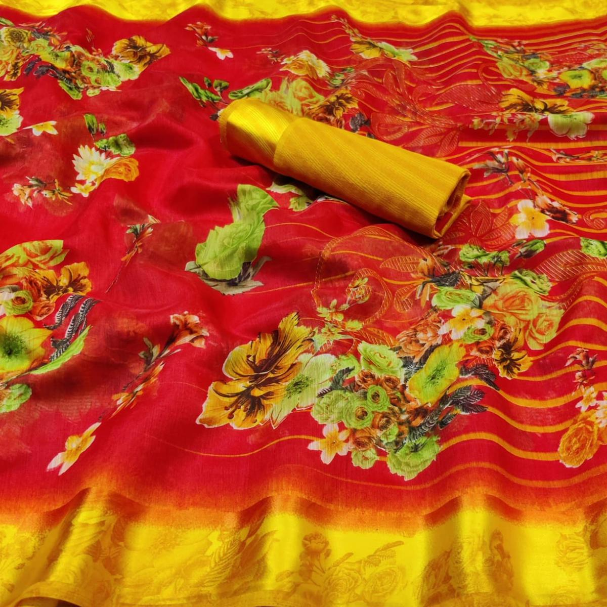 Charming Red Colored Casual Wear Fancy Printed Linen Saree