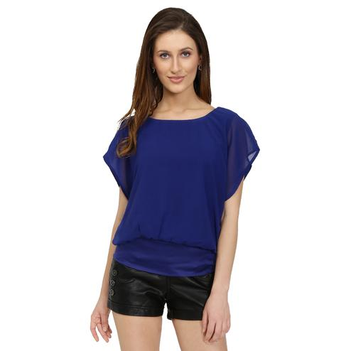 Chimpaaanzee - Blue Colored Casual Georgette Top