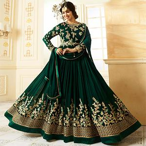 Adorable Dark Green Colored Designer Embroidered Partywear Faux Georgette Anarkali Suit