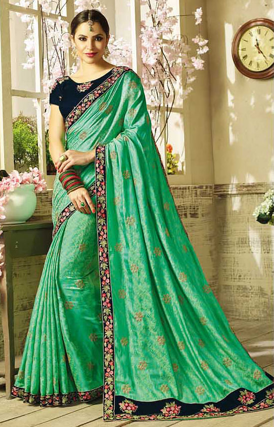 Elegant Green Embroidered Partywear Moss Georgette Saree