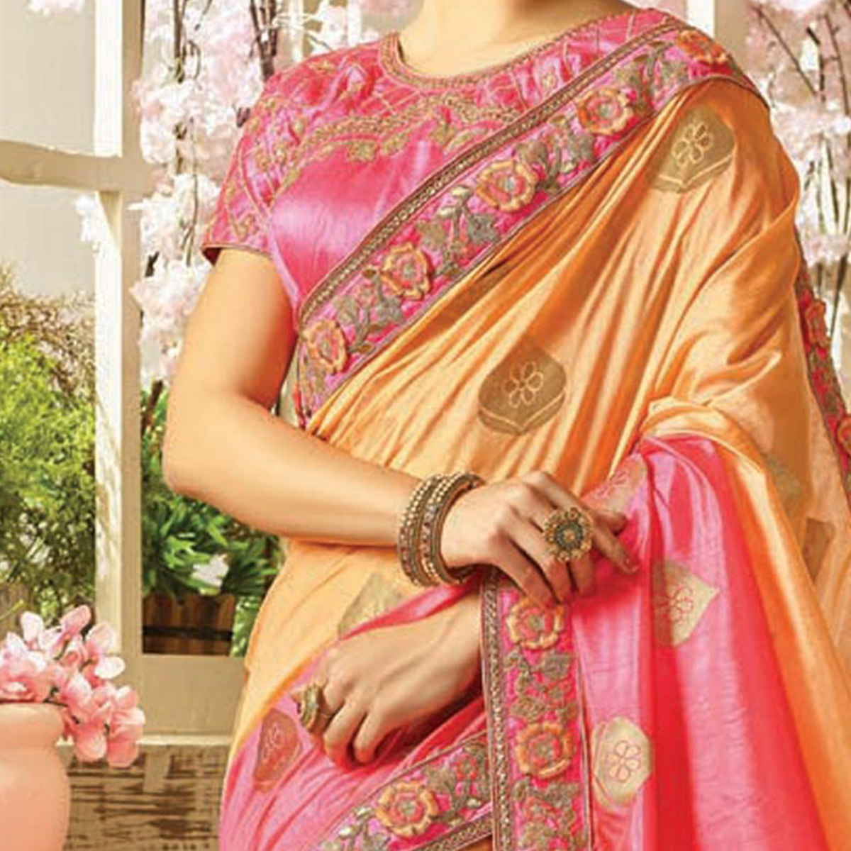 Classy Shaded Peach - Pink Embroidered Partywear Moss Georgette Saree