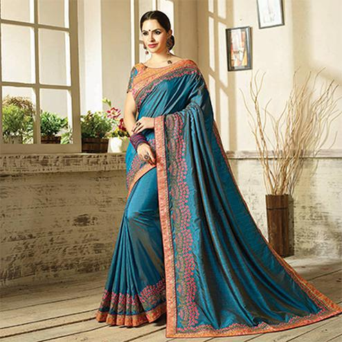 Lovely Stone Blue Embroidered Partywear Moss Georgette Saree