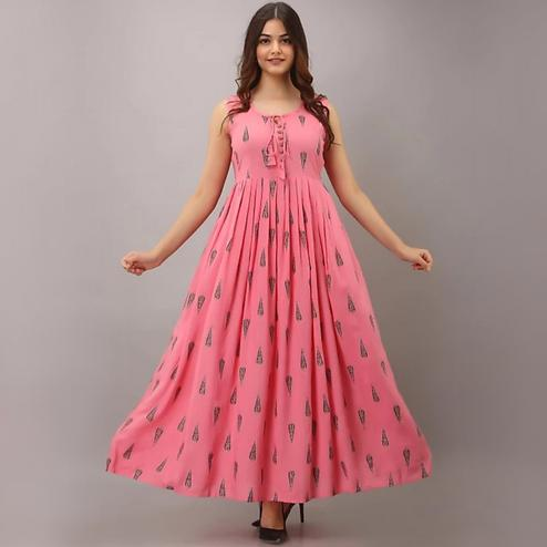 Pink City Fabrics - Pink Colored Rayon Gown