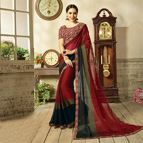Amazing Maroon Embroidered Partywear Moss Georgette Saree