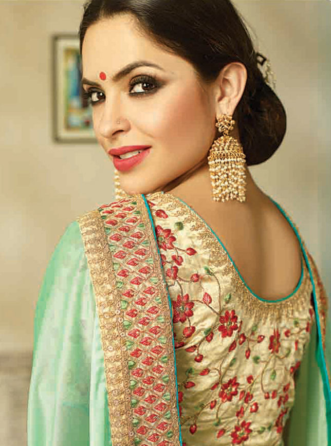 Ravishing Shaded Green Embroidered Partywear Moss Georgette Saree