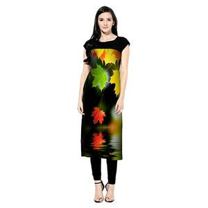 Black Digital Printed Crepe Kurti