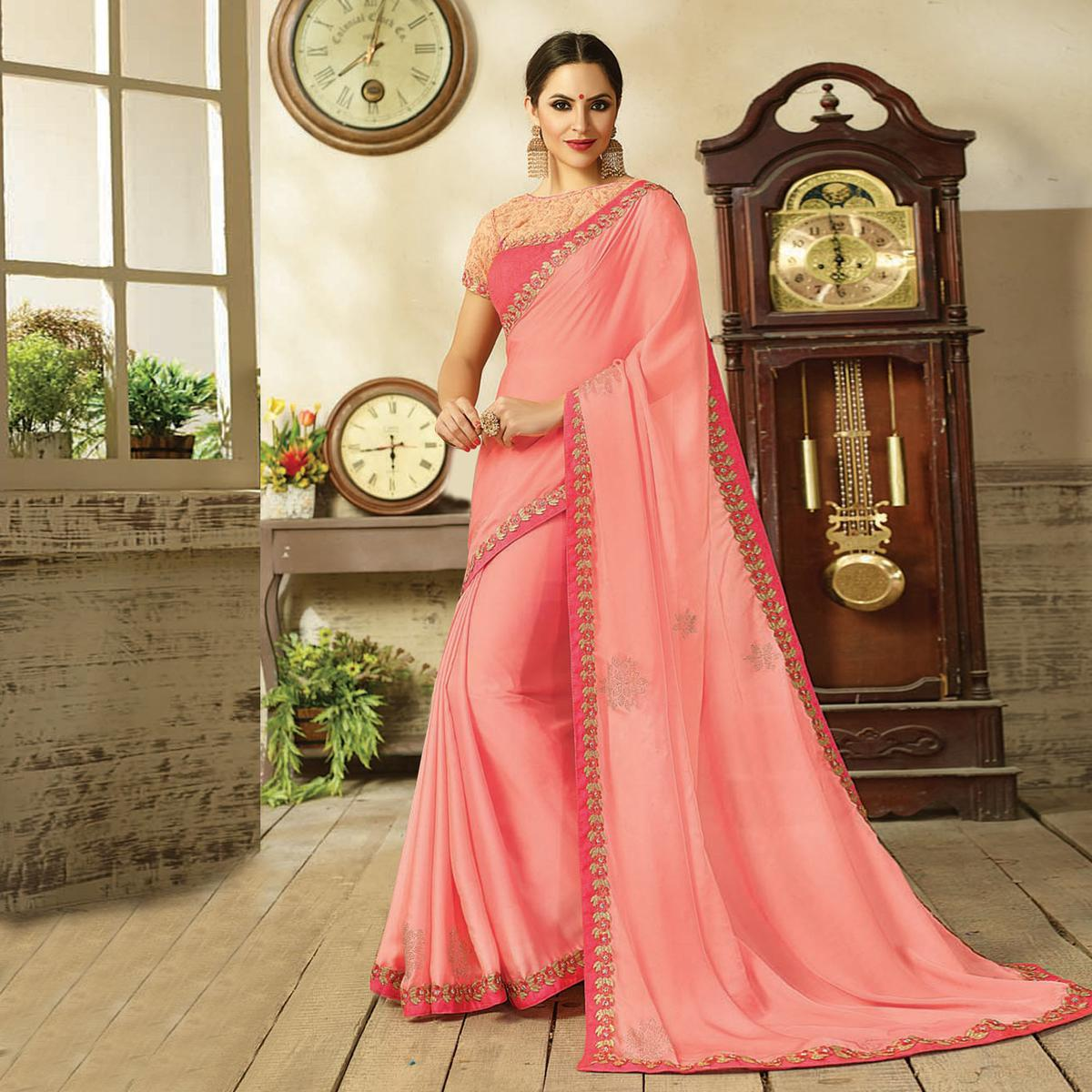 Delightful Pink Embroidered Partywear Moss Georgette Saree