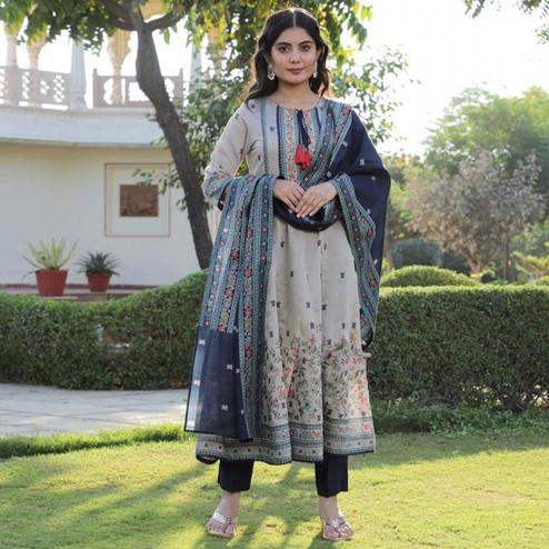 Gorgeous Beige Colored Partywear Embroidered Cotton Kurti - Palazzo Set With Dupatta