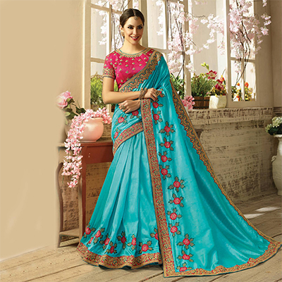 Pretty Sky Blue Embroidered Partywear Moss Georgette Saree