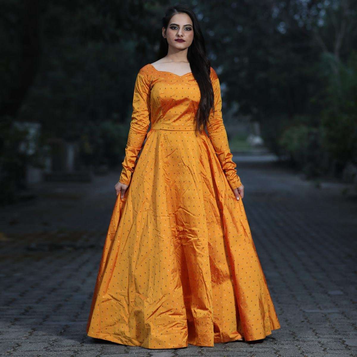 Trendy Mustard Colored Partywear Tapetta Gown