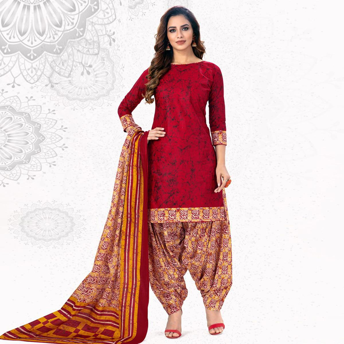 Flattering Maroon Colored Casual Wear Printed Pure Cotton Patiala Dress Material