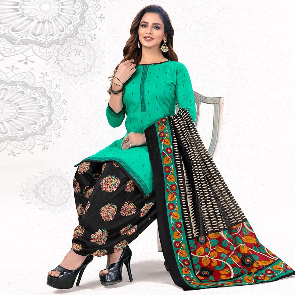 Excellent Green Colored Casual Wear Printed Pure Cotton Patiala Dress Material