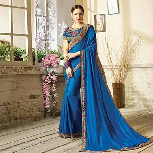 Blooming Blue Embroidered Partywear Moss Georgette Saree