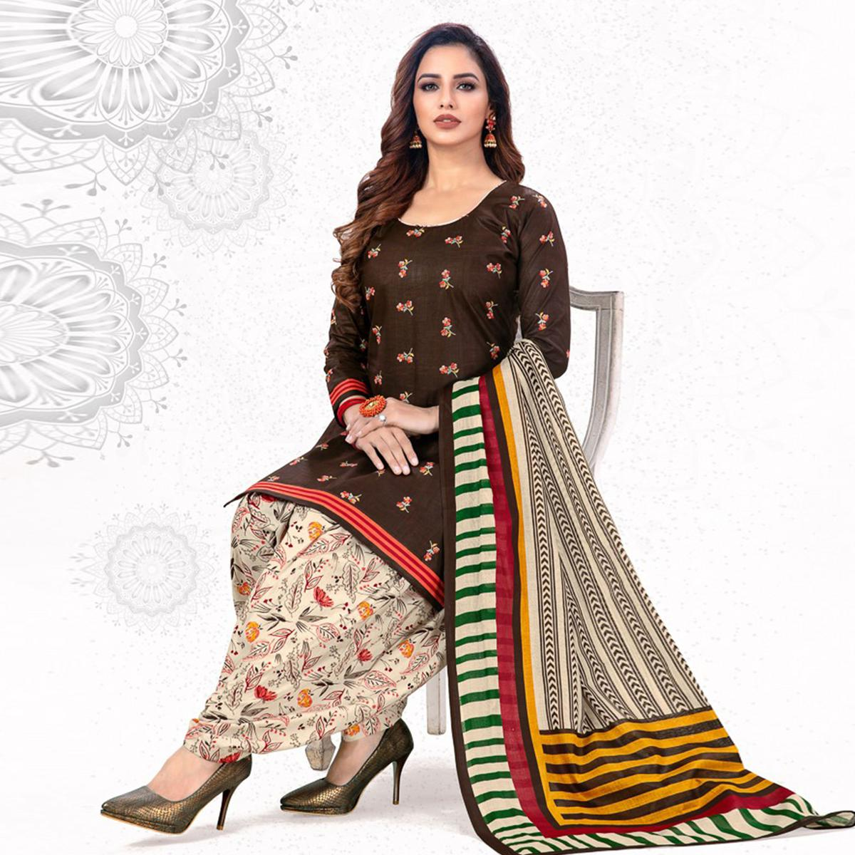 Marvellous Brown Colored Casual Wear Printed Pure Cotton Patiala Dress Material