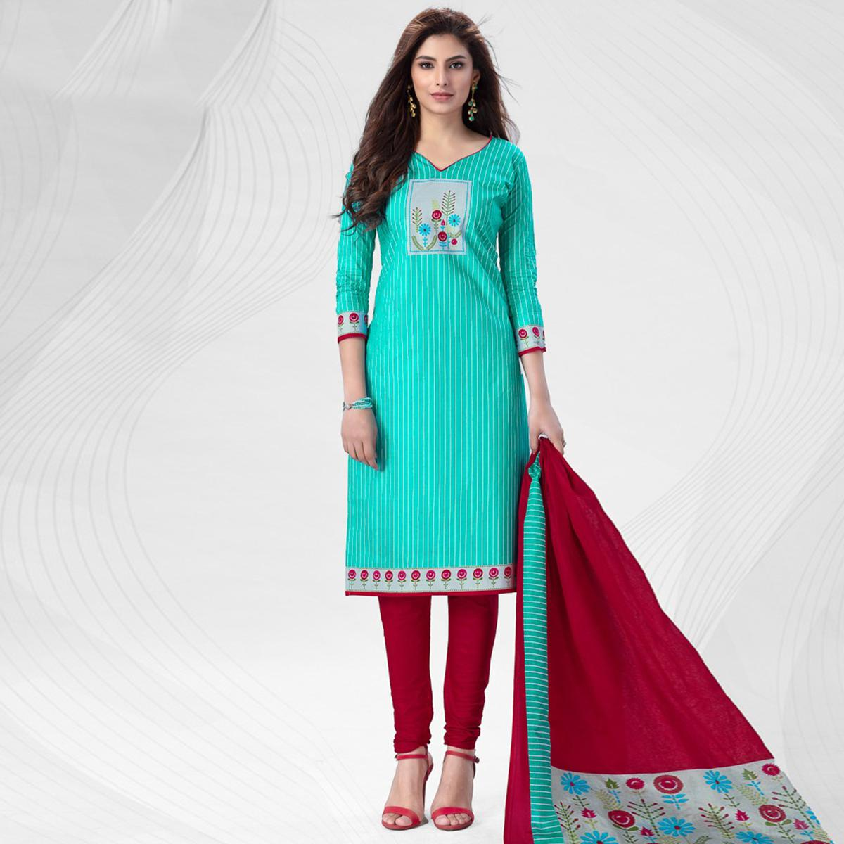 Pretty Turquoise Blue Colored Casual Wear Printed Pure Cotton Dress Material