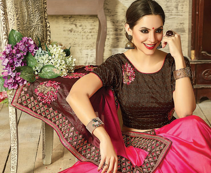 Glorious Pink - Brown Embroidered Partywear Moss Georgette Saree