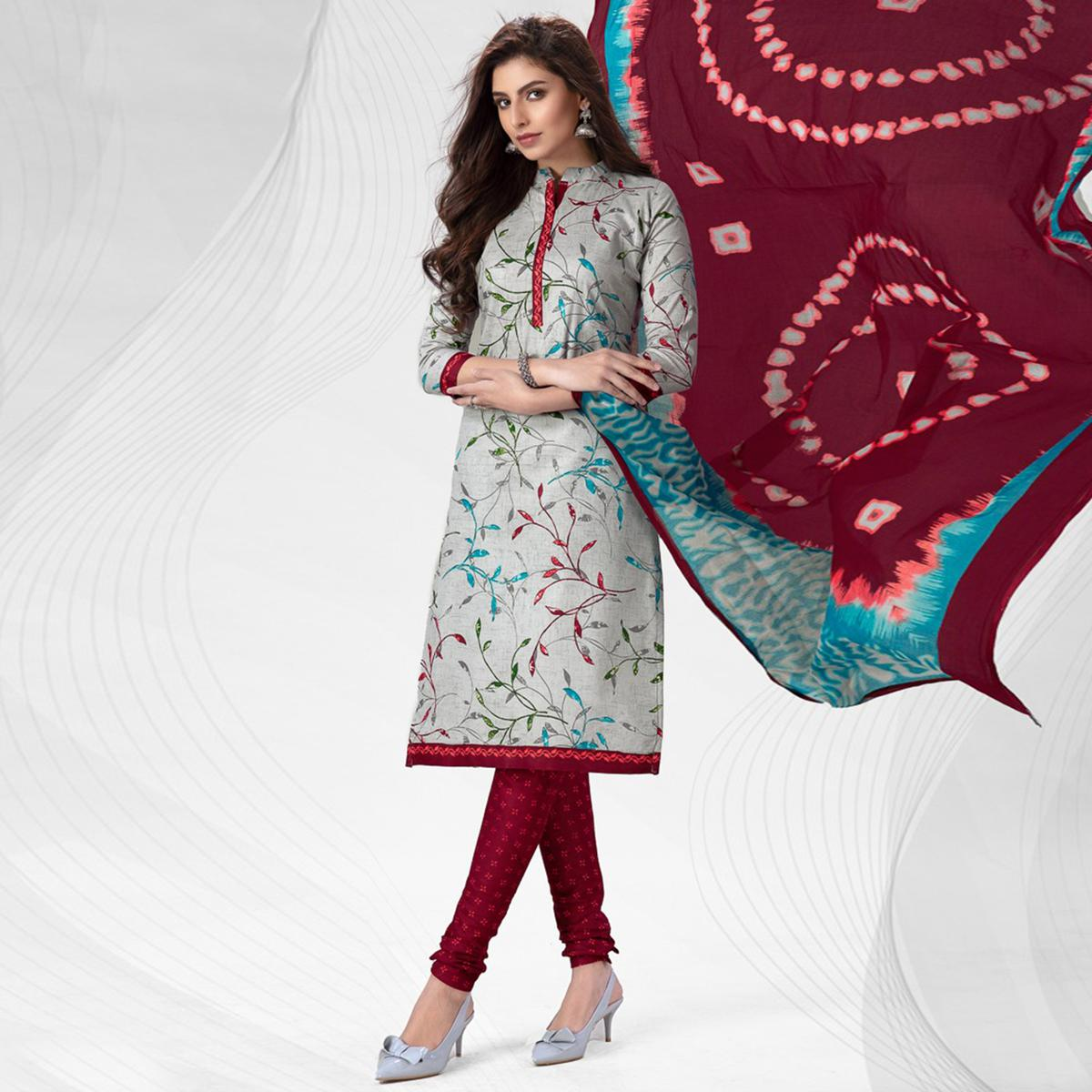 Adorning Light Grey Colored Casual Wear Printed Pure Cotton Dress Material