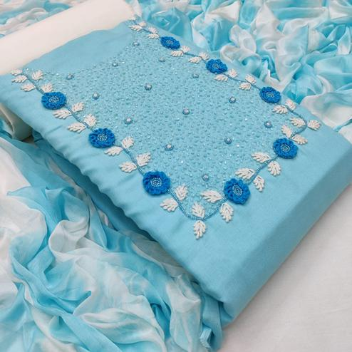 Graceful Light Blue Colored Casual Wear Embroidered Cotton Dress Material