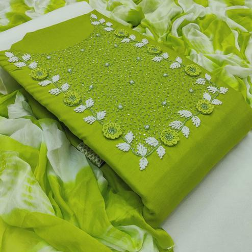 Blooming Green Colored Casual Wear Embroidered Cotton Dress Material