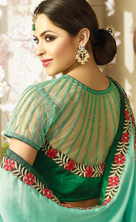 Attractive Green Embroidered Partywear Moss Georgette Saree