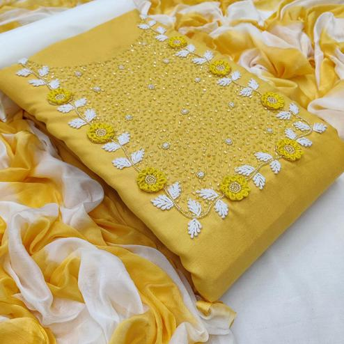 Jazzy Yellow Colored Casual Wear Embroidered Cotton Dress Material