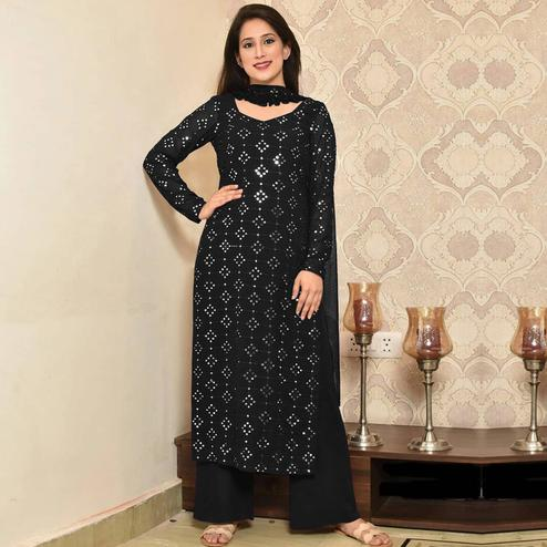 Fantastic Black Colored Partywear Mirror Work Cotton Dress Material