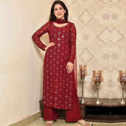 Amazing Maroon Colored Partywear Mirror Work Cotton Dress Material