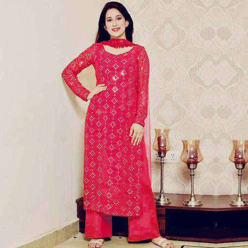 Gorgeous Pink Colored Partywear Mirror Work Cotton Dress Material