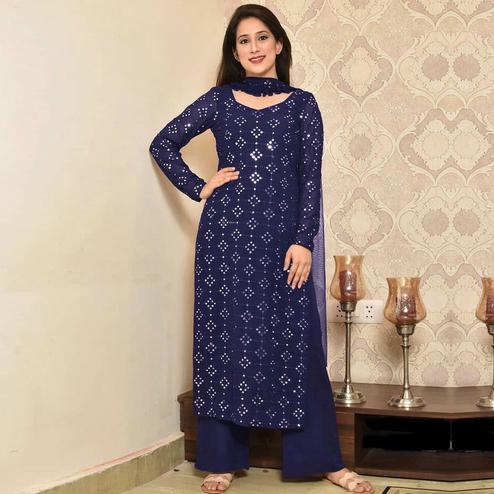 Blissful Navy Blue Colored Partywear Mirror Work Cotton Dress Material