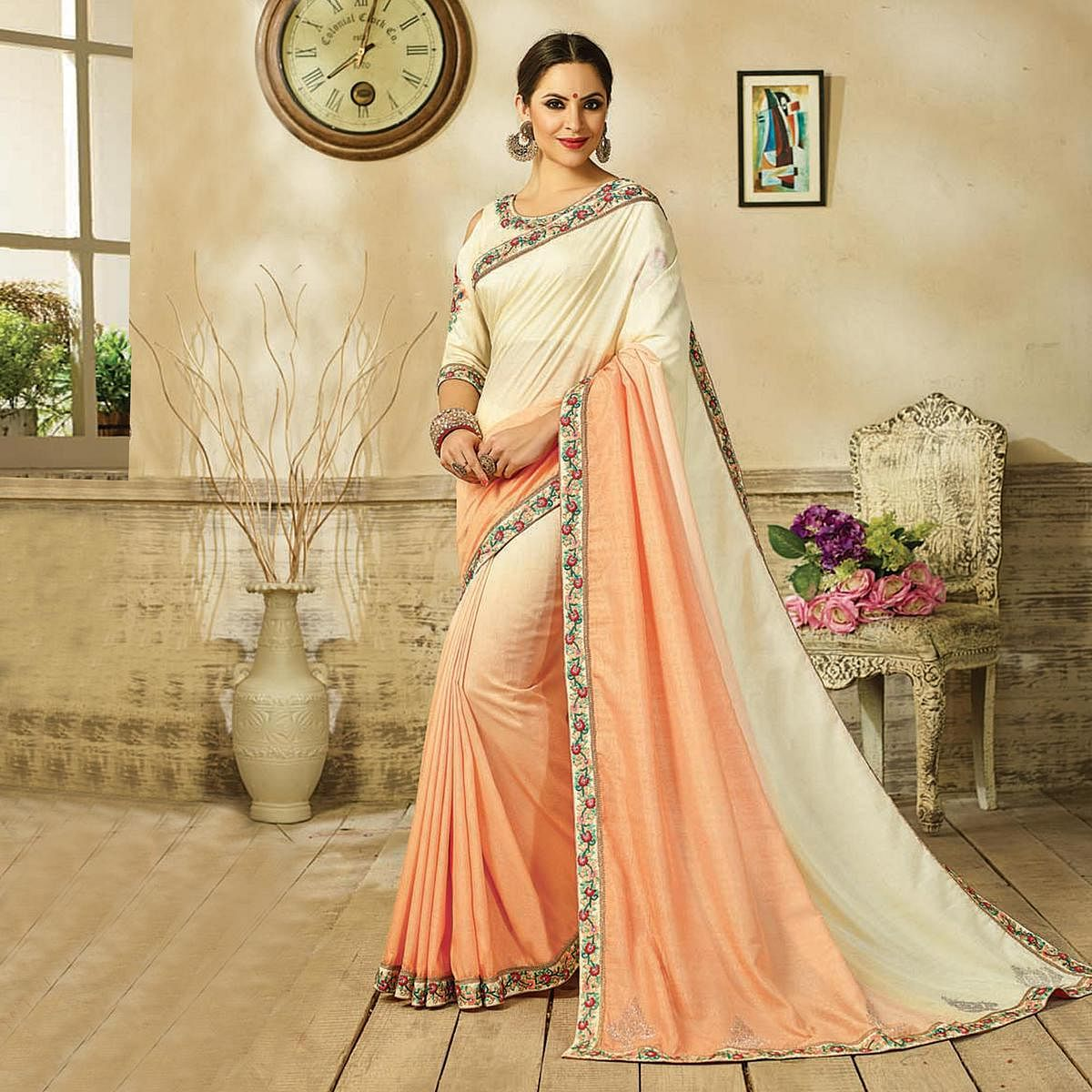 Marvelous Cream - Peach Embroidered Partywear Moss Georgette Saree