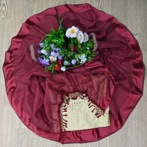 Beautiful Maroon Colored Casual Wear Cotton With Soft Satin Border Saree