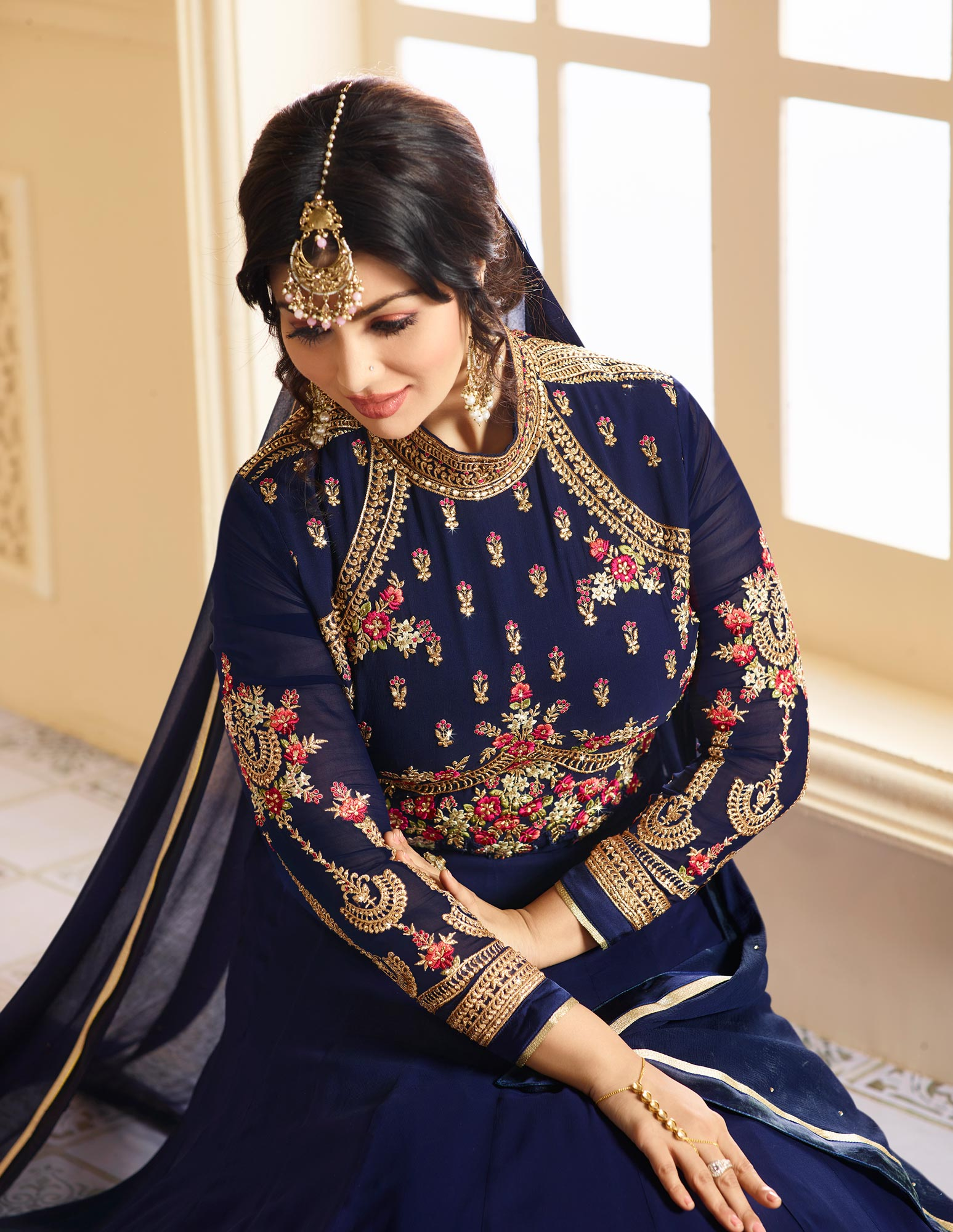 Mesmerising Blue Colored Designer Embroidered Partywear Faux Georgette Anarkali Suit