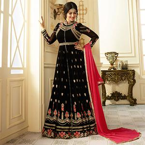 Sizzling Black Colored Designer Embroidered Partywear Faux Georgette Anarkali Suit