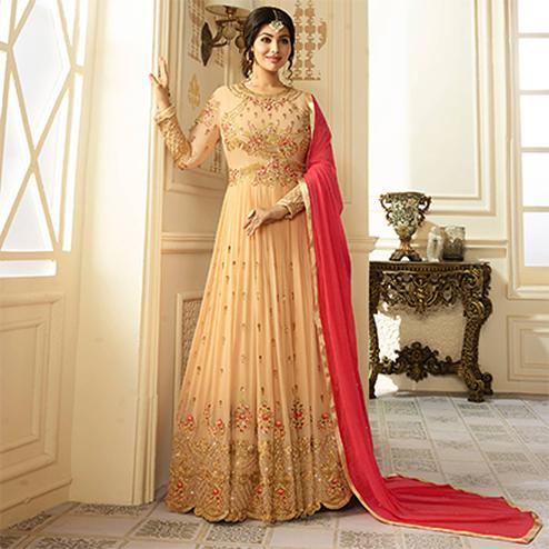 Classy Cream Colored Designer Embroidered Partywear Faux Georgette Anarkali Suit