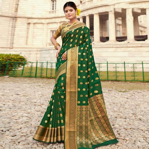 Eye-catching Green Colored Festive Wear Woven Silk Saree