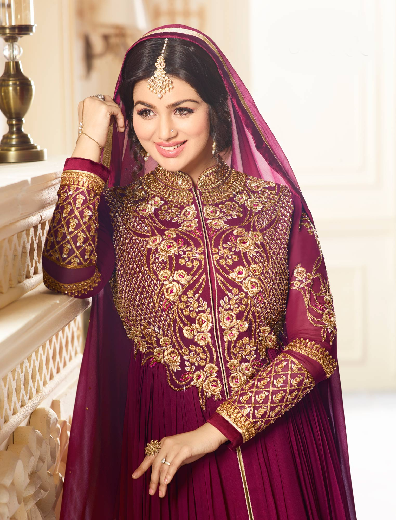 Stunning Wine Colored Designer Embroidered Partywear Faux Georgette Anarkali Suit