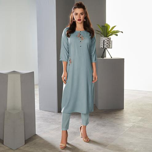 Charming Light Blue Colored Partywear Embroidered Pure Viscose Kurti With Pant