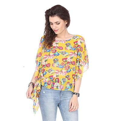 Graceful Yellow Colored Chiffon Floral Print Top