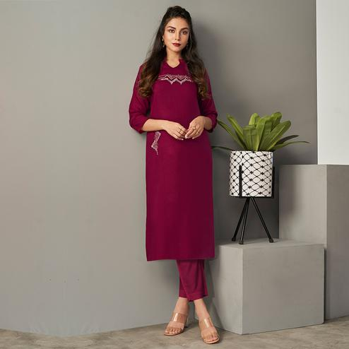 Ravishing Wine Colored Partywear Embroidered Pure Viscose Kurti With Pant