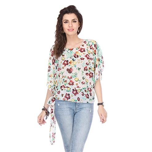Off White Colored Chiffon Floral Printed Top