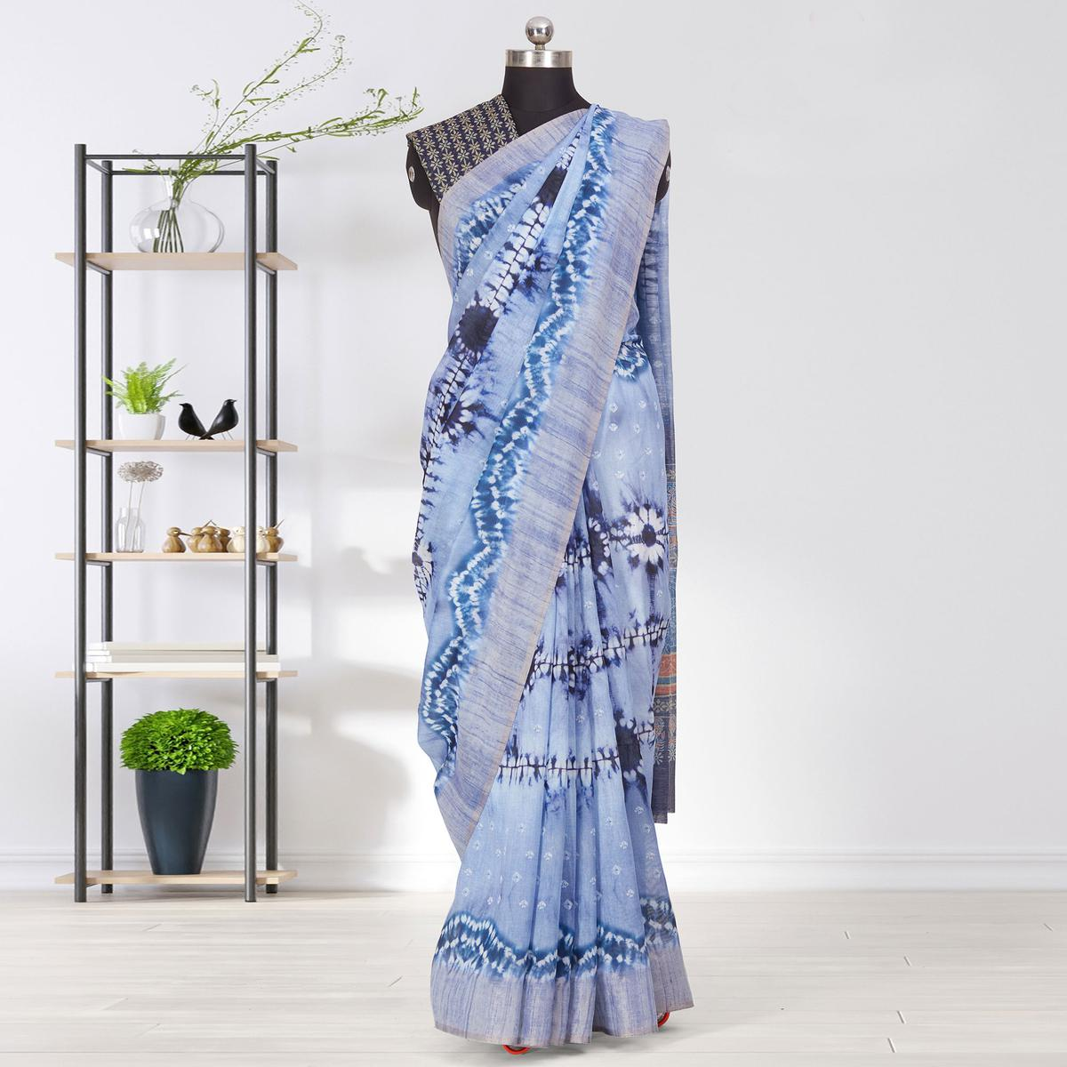 Blooming Blue Coloured Casual Wear Printed Linen Saree