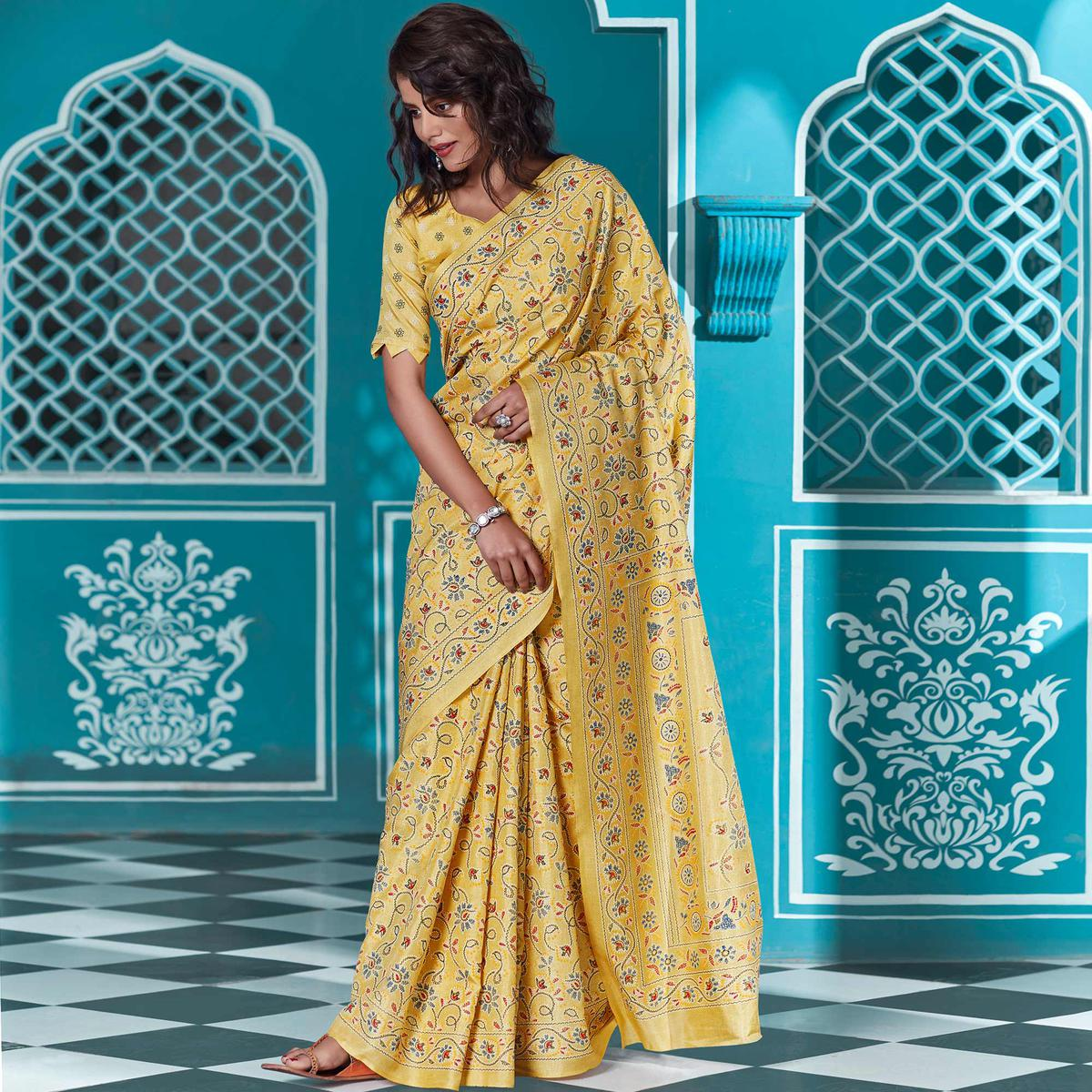 Charming Yellow Coloured Casual Wear Printed Cotton Saree