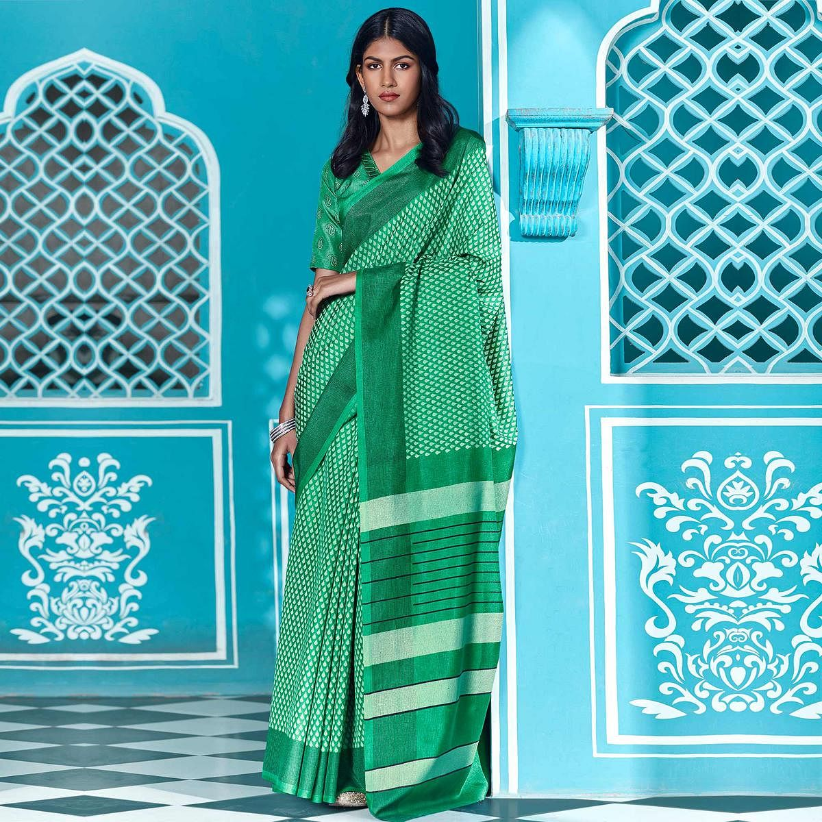 Amazing Green Coloured Casual Wear Printed Cotton Saree