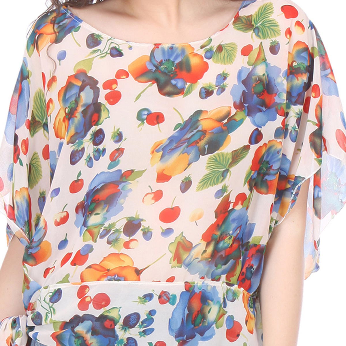 Cream Colored Chiffon Floral Print Top