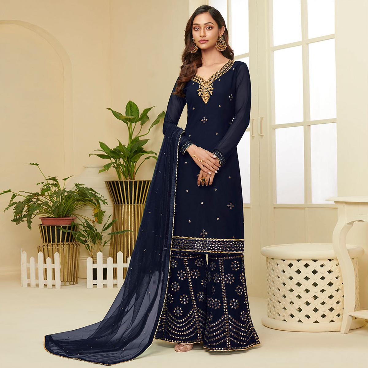 Excellent Navy Blue Coloured Partywear Gota Work Georgette Palazzo Suit