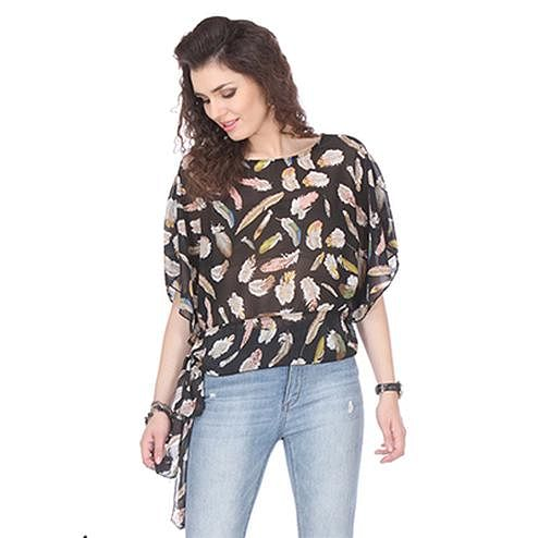 Black Colored Chiffon Printed Top