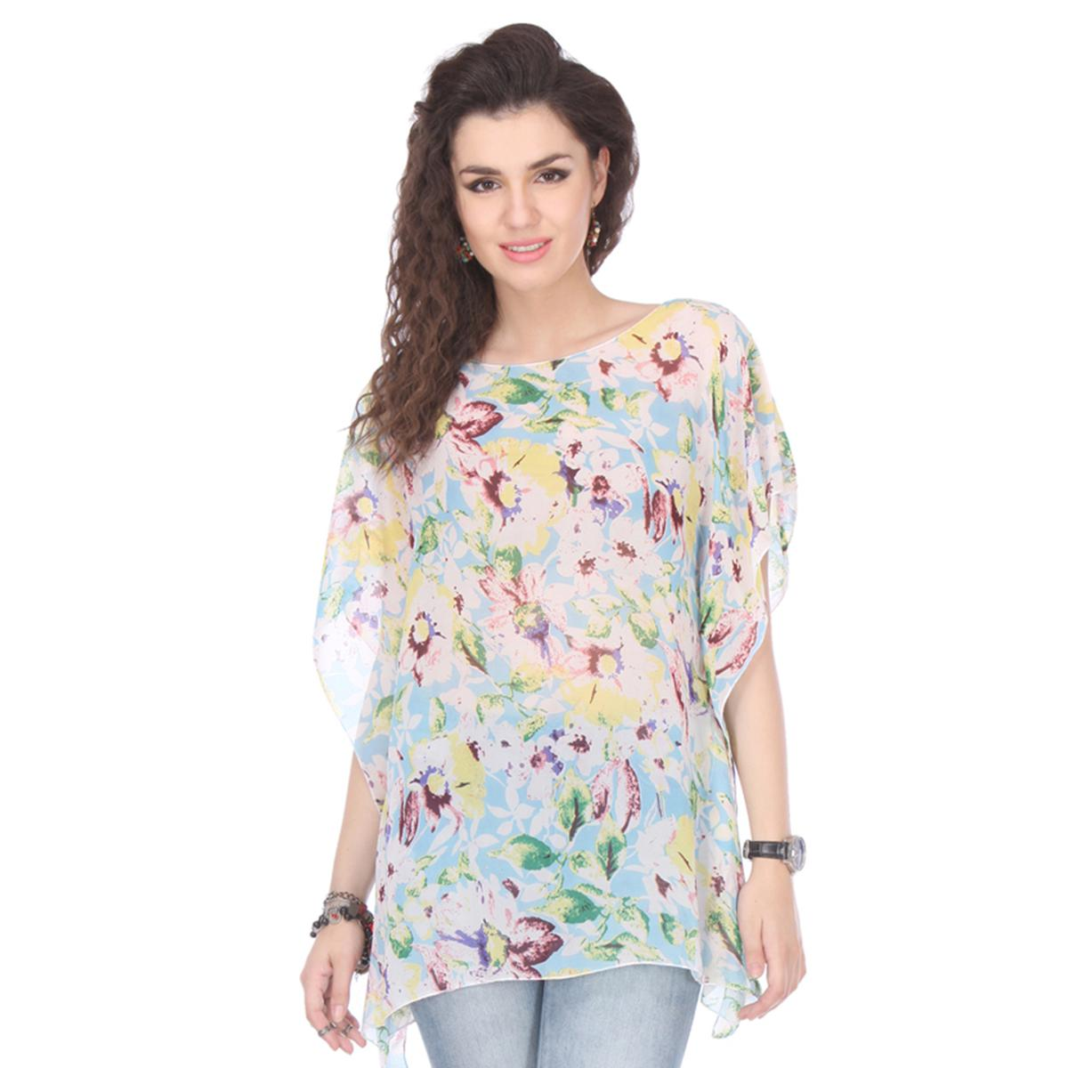 Sky Blue Colored Chiffon Floral Printed Kaftan Top
